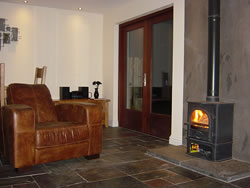 The wood burner in the sitting room at Kingston House